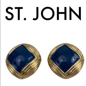 ST. JOHN GOLD BLUE EARRINGS